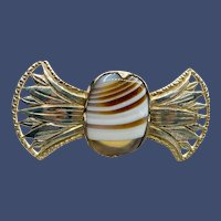 Unusual Brown-white Banded Agate Sterling Brooch