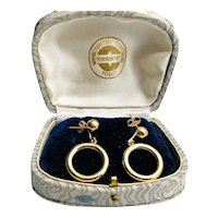 Estate Circle and Nut Drop Earrings 14k Yellow Gold