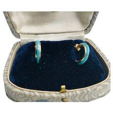 14K Gold Turquoise Inlay Half Hoop Earrings