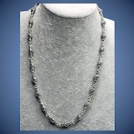 """Sterling Silver Long Bead Necklace 22"""""""