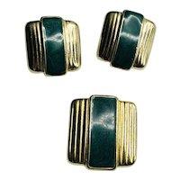 Signed Ernst Bek Germany Pre-WWI Art Deco Green Enamel Set