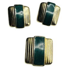 Signed Ernst Bek Germany Pre-WWI Art Deco Green Enamel Set