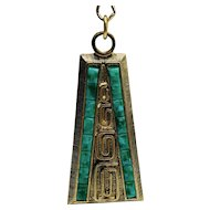 Signed Whiting and Davis Egyptian Revival Green and Gold Necklace