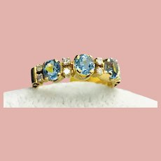 14K Topaz Diamond Stackable or Wedding Band