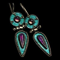 1970 Thousand Flowers Cloisonné Amethysts Articulated Sterling Earrings