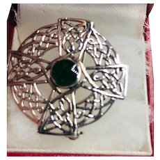 Celtic Cross with Center Green Stone Weave Brooch