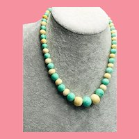 Art Deco Turquoise and Bone Beads Necklace