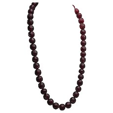 Large Carved Cherry Amber Bakelite Bead Necklace