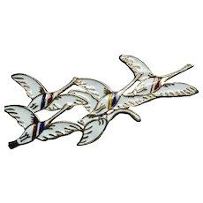 Signed Erik Magnussen Sterling Enamel Flying Geese  Brooch