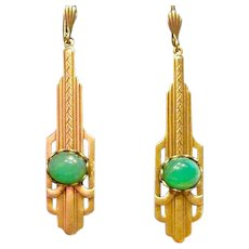 1980s Prong Set Jade Cabochon Earrings