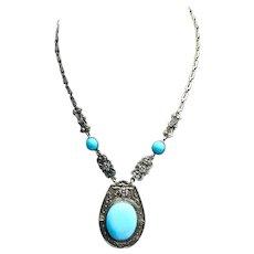 Art Deco Ornate Blue Glass Necklace