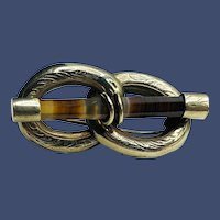 Antique Scottish Silver Banded Agate Lovers' Knot Brooch c1880
