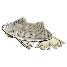 Signed Kristi Davis Silver Articulated Fish Earrings