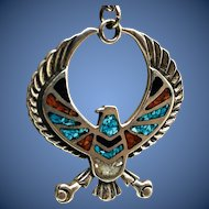 Native American Eagle Inlay Pendant Necklace