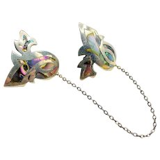 1950s Sterling Abalone Chatelaine Brooch