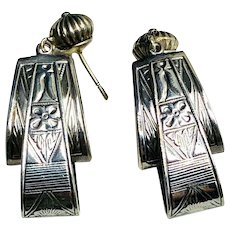 Estate Art Deco Fine Sterling Earrings
