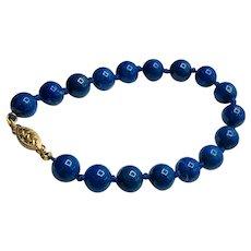 Vintage Deep Blue 14K Gold & Gem Quality Lapis Lazuli Bead Bracelet