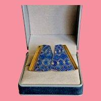 1970s Shashi Cloisonne Gold Wash Earrings