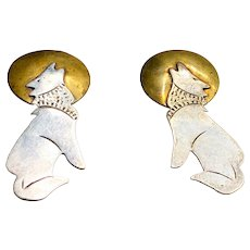 Native American Navajo Earrings Coyote Howling at the Moon