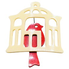 1940s Red Bird in a Cage Celluloid Brooch