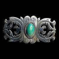1930 Taxco Mexico 980 Silver Turquoise Brooch