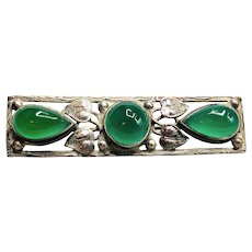 Art Deco German Sterling Chrysoprase Bar Brooch