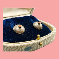 Old Pawn Silver & Coral Stud Earrings