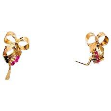 Retro 14K Rose Gold Ruby Bow Earrings - 1930-40s
