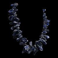 Natural Gemstone Amethyst Stick-shaped Large Beads Necklace