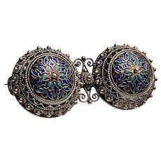 Vintage Oriental Vermeil Enamel Brooch