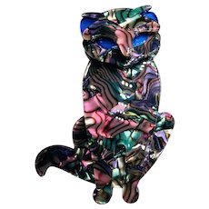 "Celluloid Multi-color Sitting Cat Brooch Named ""MeMe"""