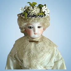 "French Fashion Hat ~ Black/White Vintage Straw ~ Artist Made ~ 7-1/2"" to 8-1/2"" Head"