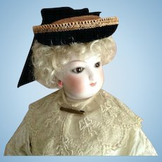 """French Fashion Hat ~ Vintage Straw, Trims ~ Artist Made ~ 7-1/2"""" to 8-1/2"""" Head"""