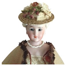 """Tiny French Fashion Hat ~ Vintage Straw, Trims ~ Artist Made ~ 4-1/2"""" - 5-1/2"""" Head"""