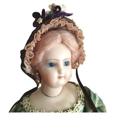 """French Fashion ~ Wired Fanchon Bonnet ~ Artist Made ~ 5-1/2"""" - 6"""" Head"""