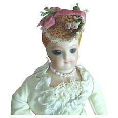 """Tiny French Fashion Bonnet ~ Vintage Straw, Trims ~ Artist Made ~ for 4-1/2""""- 5"""" Head"""