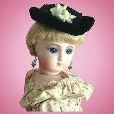 "French Fashion Hat ~ Black Straw/Velvet ~ All Vintage ~ Artist Made ~ 6"" to 6-1/2"" Head"