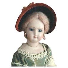"French Fashion Bonnet ~ Vintage Velvet Trims ~ Artist Made ~ 6"" to 6-1/2"" Head"