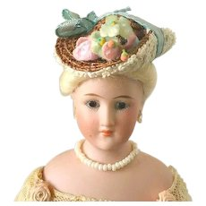 Tiny French Fashion or China Hat ~ Turned-up Side  ~ Artist Made by Zofia Rose