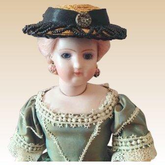 "French Fashion Hat ~ Black Trims ~ 6"" ~ 7-1/2"" Head ~ Artist Made"
