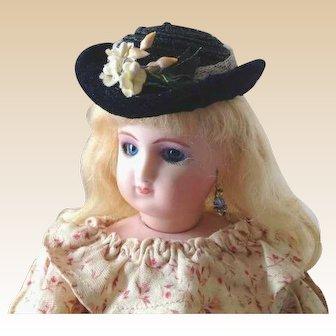 "French Fashion Hat ~ Black Straw/Velvet ~ All Vintage ~ 6"" to 7-1/2"" Head"