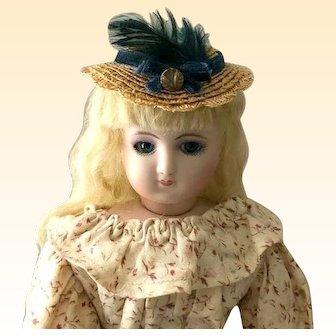 "French Fashion Bonnet ~ Scalloped Straw Trim ~ 6""- 6-1/2"" Head ~Artist Made"