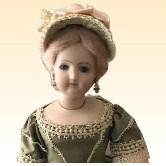"French Fashion Bonnet ~ Pink Ribbon ~ 6""- 6-1/2"" Head ~Artist Made"