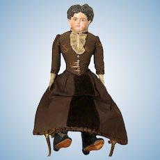 Paper Mache ~ Antique Sonneberg Type - Original Costume ~ c. 1880~ Free Shipping