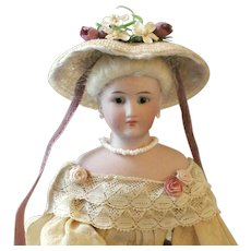 """French Fashion ~ Simon & Halbig 1160 ~ Tiny Garden Hat or Bonnet ~ Artist Made ~ for 4-1/2""""- 5"""" Head"""