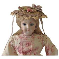 "French Fashion ~ Simon & Halbig 1160 ~ Whimsical Garden Hat or Bonnet ~ Artist Made ~ for 4-1/2""- 5"" Head"