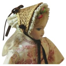 """Holding for LB ~Tiny Fanchon Bonnet ~ Artist Made ~ 4-1/2"""" - 5"""" Head"""