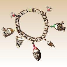 Adorable 1970's Mylu Carolers Gold-tone Charm Bracelet