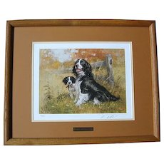 "Beautiful Signed Framed Robert K. Abbett ""English Spring & Pup"" Print"