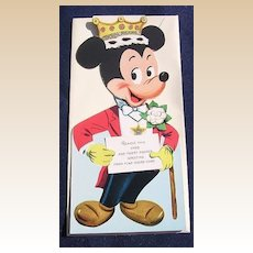 Rare 1940's Unused Gibson Walt Disney Micky Mouse Kiddycard